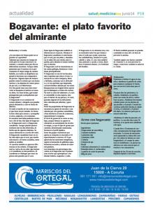 Noticia en Salud y Medicina Hoy, sobre el bogavante.